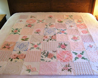 "Heirloom Quality Custom Order - Pink Roses Bouquet Vintage Chenille Quilt / Throw 53"" x 61"""