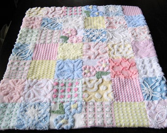 Vintage Chenille American Girl DOLL Quilt and Pillow - Custom Order Pastel Colors