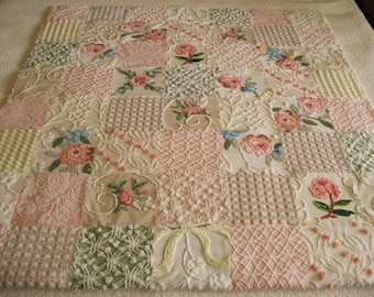 Custom Order Roses Bouquet Vintage Chenille Quilt / Throw