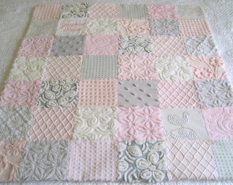 "Made to Order "" Soft Summer Sky"" Heirloom Quality Personalized Vintage Chenille Baby or Lap Quilt  39"" x 45"""