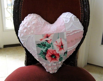 "Handmade Valentine Patchwork Heart Pillow - Wilendur Morning Glories Nosegay and Vintage Chenille 16"" x 16"""