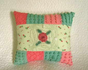 Vintage Chenille Pillow Rosebuds and Rosettes