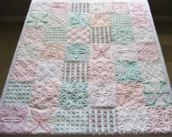 "Custom Made Pink and Aqua ""Summer Morning"" -  Handmade Heirloom Quality Vintage Chenille Baby, Toddler or Lap Quilt"