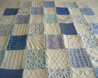 Beach Day - Vintage Chenille Baby Quilt Blue and White - Ready to ship