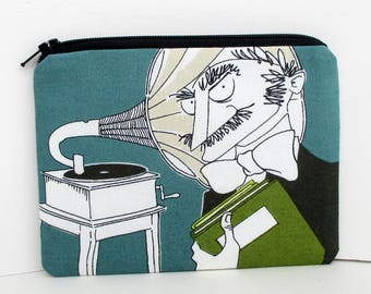 Ghastlie Zipper Pouch, Ghastlie  Music, Blue and Green, Alexander Henry Fabric, Zippered Bag