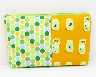 Cosmetic Zipper Pouch, Tadpoles and Frogs Patchwork, Heather Ross Fabric