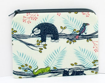 Tree Sloth Zippered Pouch, Small Coin Purse, Cotton and Steel Fabric