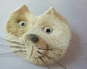 cat with whiskers jewelry pin brooch  by sugargrovepottery on etsy