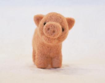 Pig, needle felted barnyard animal fiber art sculpture toys