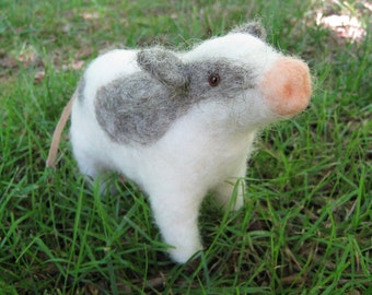 Brown eyed cow, needle felted animal fiber sculpture