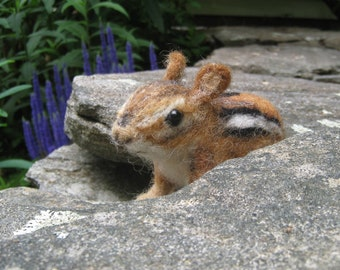 Chippi the chipmunk, needle felted animal fiber art sculpture