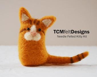 Needle Felting Kitty Kit, wool cat complete fiber kit for beginners