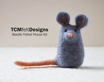 Needle Felting Kit, Mouse, wool complete animal fiber kit for beginners