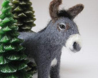 Grayson the Donkey, needle felted animal sculpture