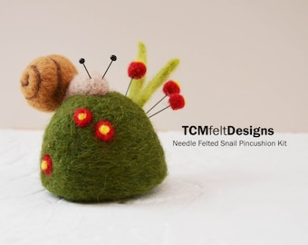 Needle Felting Snail Pincushion Kit, wool complete garden fiber kit for beginners and intermediates