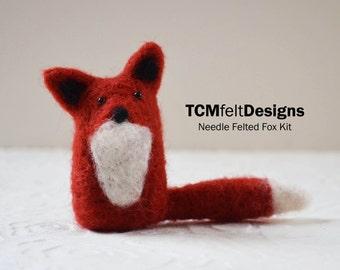 Needle Felting Kit, Fox, wool DIY complete fiber kit for beginners