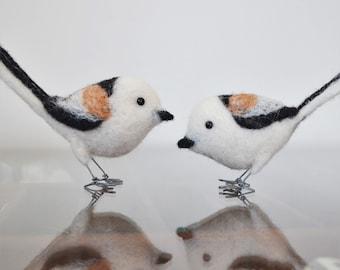 Long-tailed Tit, needle felted bird fiber art