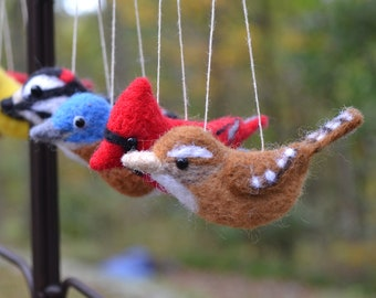 Song bird ornaments, needle felted wool sculpture