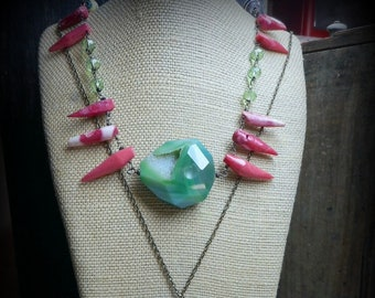 Mermaids cove Chunky Layering Necklace Art Pink Coral Teeth Crystal Snake Bones Absinthe Agate DruzyAfrican Paper Beads