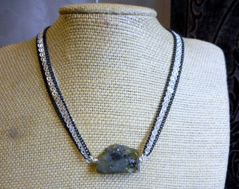 Erinyes. Labradorite Necklace Silver & Black gunmetal Lace-esque Gothic Victorian Boho Handmade Chic gemstone necklace.