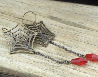 What a Tangled Web We Weave Earrings . Spider web and red glass autumn Halloween earrings