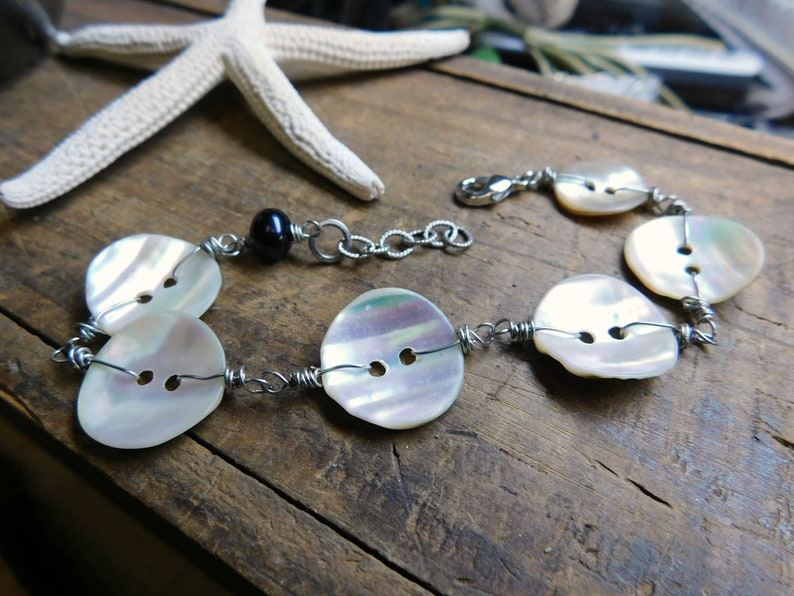 Abalone Shell Button /& Eggplant Freshwater Pearl One of a kind Bracelet. Sea Maiden Bracelet