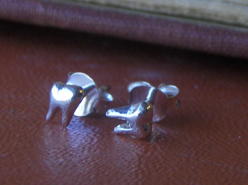 Itsy Bitsy Sterling Silver Molar Tiny Stud Earrings LITTLE CHOMPERS Chymini Collection Gift for dentist, Handmade made to order Lost wax