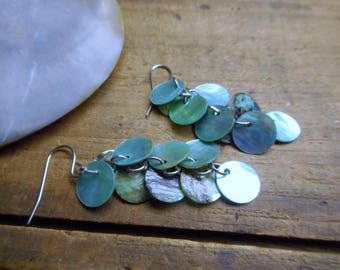 Water Nymph. Aqua Blue Lip shell cluster earrings.