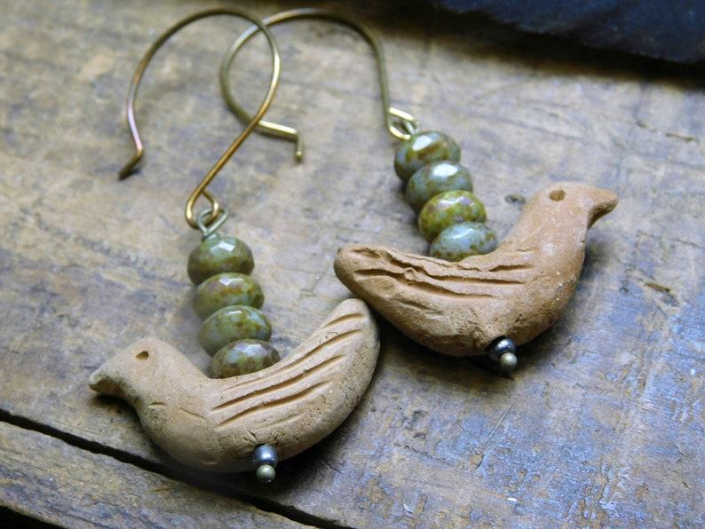 Tiny carved Terra Cotta birds /& Mushroom Czech glass rondelles Nightingale Earrings