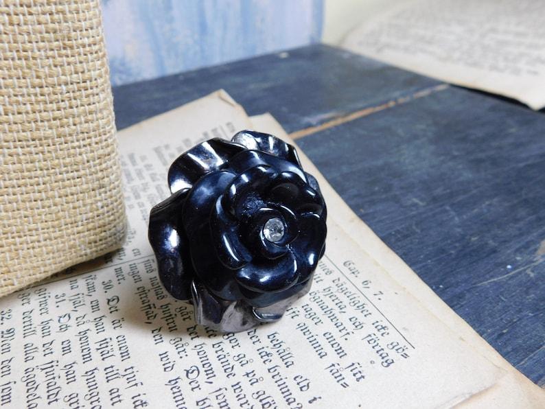 Cocktail ring Ebony Rose Tea ring /& Black enamel adjustable Large Rose metal ring Hematite Gunmetal