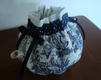 Navy and White Toile Tea Pot Cozy