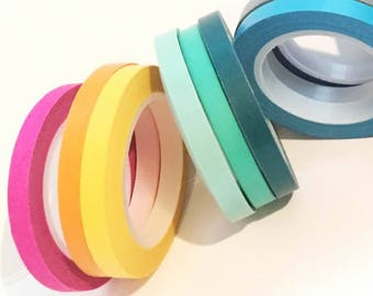 Skinny Washi Tape Set Slim Thin 5mm tape set of 3 journaling, gift wrap, solid planner tape SET of 3