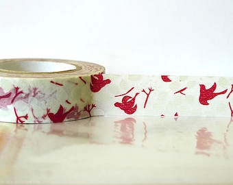 Japanese Washi Tape - RED Bird Tree, Leaves, Fall Pattern Masking Tape 15mm