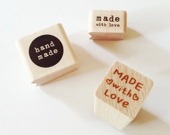 Handmade Rubber Stamps Made With Love Stamp Heart Stamp Wooden Rubber Stamp Handmade Stamps