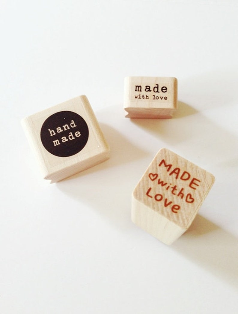Handmade Rubber Stamps Made With Love Stamp Heart Stamp Wooden image 0