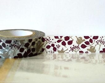 Japanese Washi Tape autumn washi tape fall Brown Bird Tape, Leaves, Fall Washi tape Masking Tape 15mm Fall Wedding