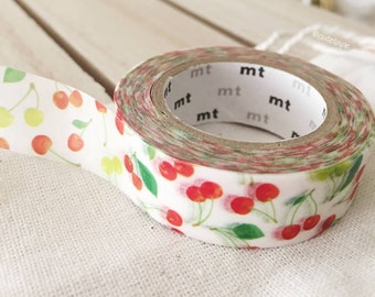 Cherries Washi Tape Cherry washi tape | Japanese masking tape - | 10 Meters Length | 15MM Width | PrettyTape