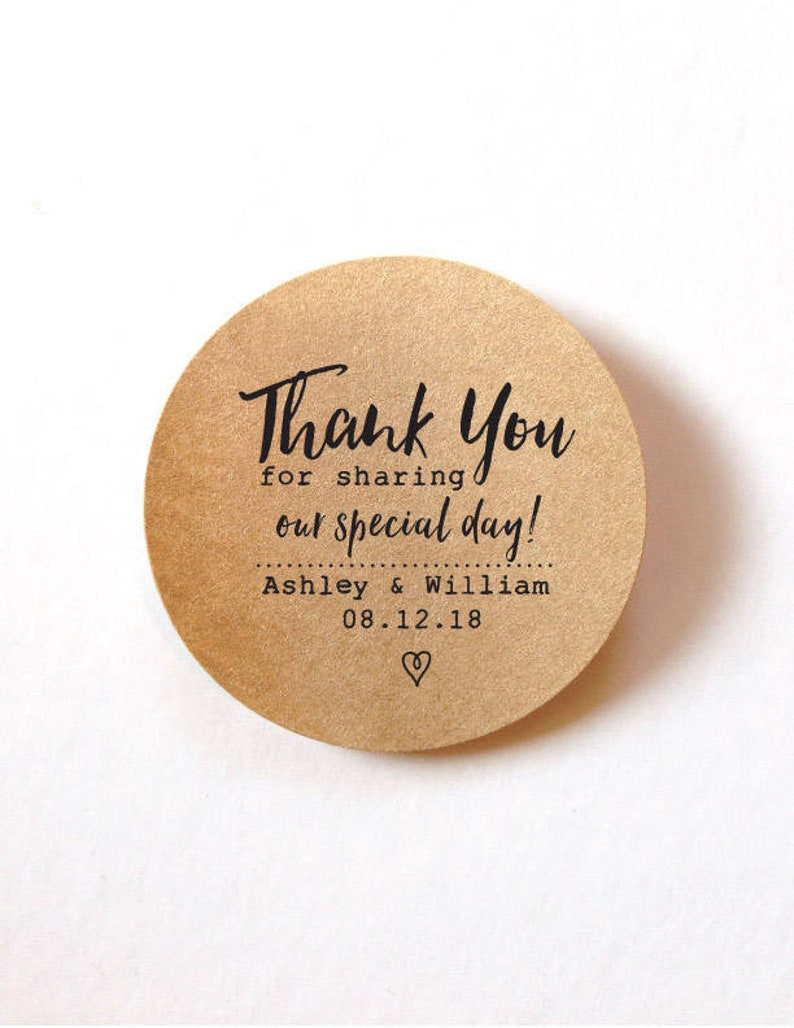 Favor thank you stickers wedding stickers for favors 60 round etsy