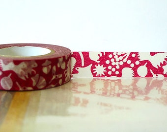 Japanese Fall Washi Tape - autumn washi tape Red Squirrel, Acorn, Leaves Masking Tape 15mm Embellishment, Scrapbooking