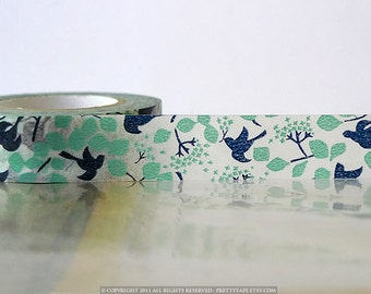 Birds Washi Tape Woodland Navy Teal Bird Tree, Leaves, Japanese Washi Tape Fall Pattern Masking Tape 15mm