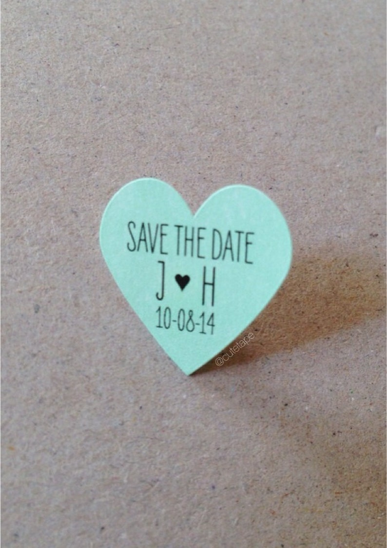 Mint wedding favor stickers small mint heart stickers custom stickers mint save the date stickers