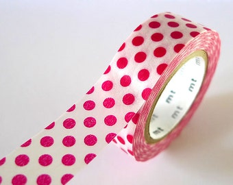 Pink RED Washi Tape BIG Dots 15mm Japanese MT Masking Tape - PrettyTape