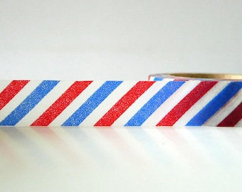 Airmail Washi Tape Red and Blue Stripe Air Mail Washi Tape Airmail Stickers stationery Pretty Tape