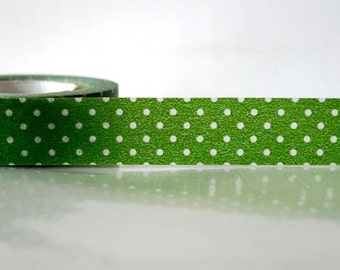 Japanese green Washi Tape Green with white Polka Dots 15mm