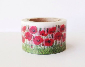 Floral Washi Tape Wide Washi Tape 30mm Red POPPY Washi Tape Flowers stationery - gift wrapping - masking tape