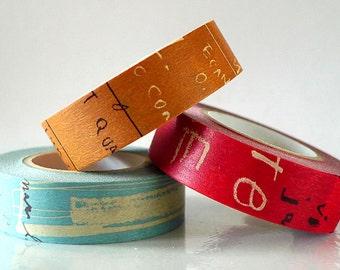 Graffiti Washi Tape Set DARK (A) Vintage Artistic Collage Japanese Masking Tape Set of 3 brown blue red