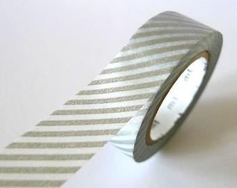 Thin Striped Silver Washi Tape 15mm Japanese MT Masking Tape - PrettyTape