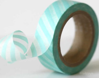 Aqua Washi Tape Aqua Blue Stripe Washi Tape paper craft tape card making