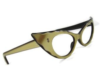 463faea45c70 Vintage 50s Winged Cateye Eyeglasses Eyewear Frame Lumar Shelf#153