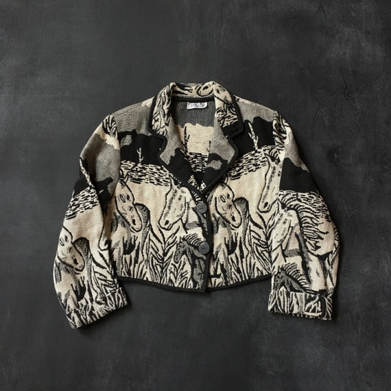 horse tapestry cropped jacket